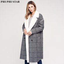 Phi Star Brand Casual Outerwear Overcoat Fashion Style Lady Faux Fur Coat Clothes Plaid Women Long