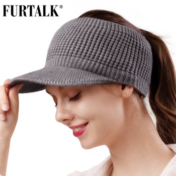 FURTALK Winter Hat Women Knitted Baseball Cap with Velvet Fleece Winter Sports Hat Messy High Bun Ponytail Visor Cap for Ladies 2