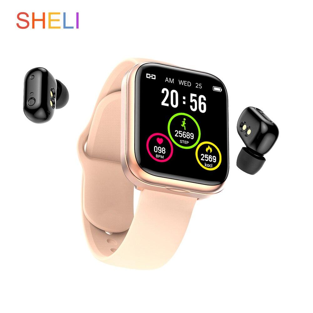 SHELI AI Смарт-часы с Bluetooth наушниками Монитор Сердечного Ритма Смарт-Браслет Смарт-часы мужские спортивные наушники