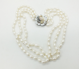 Image 3 - Classic necklace! 3 rows of 7 8MM natural white rice grain pearl pearl necklace, 18 22 inches