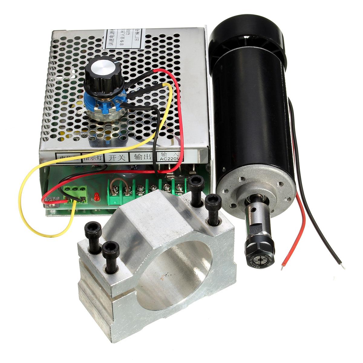 500 Вт с воздушным охлаждением Шпиндельный двигатель ER11 патрон 500 Вт шпиндель dc мотор и 52 мм зажимы и регулятор скорости электропитания для ЧП...
