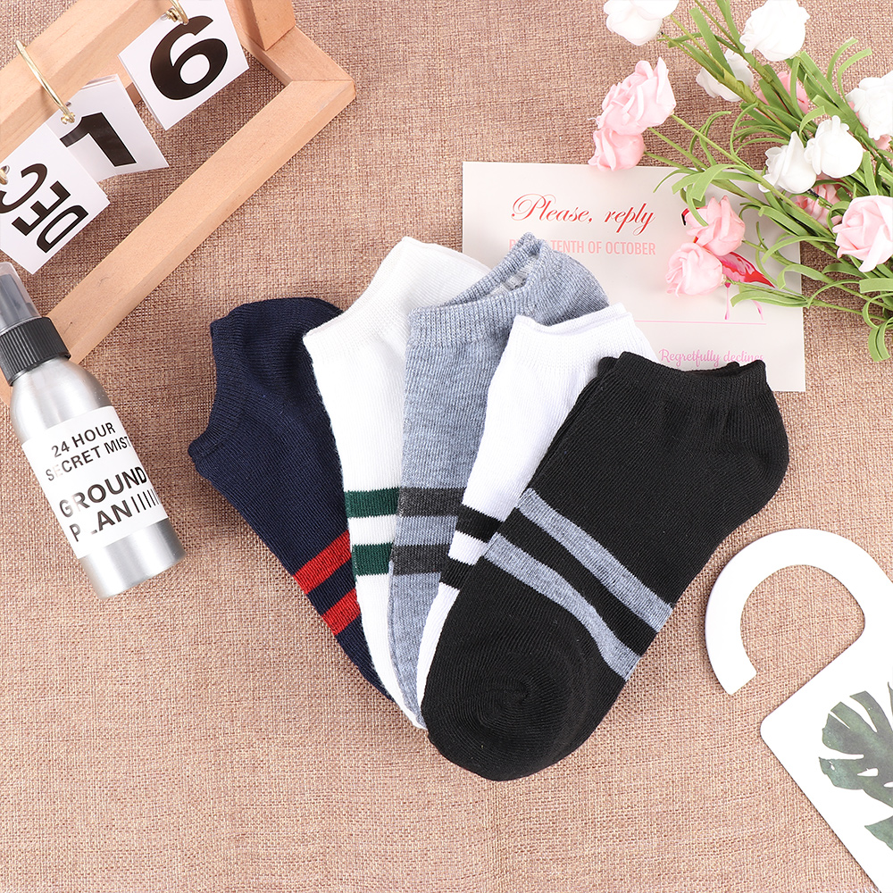 2019 Mens Invisible Socks Cotton Fashion Solid Color Stripes Thin Non-Slip Boat Socks Summer Male Casual Breathable Socks