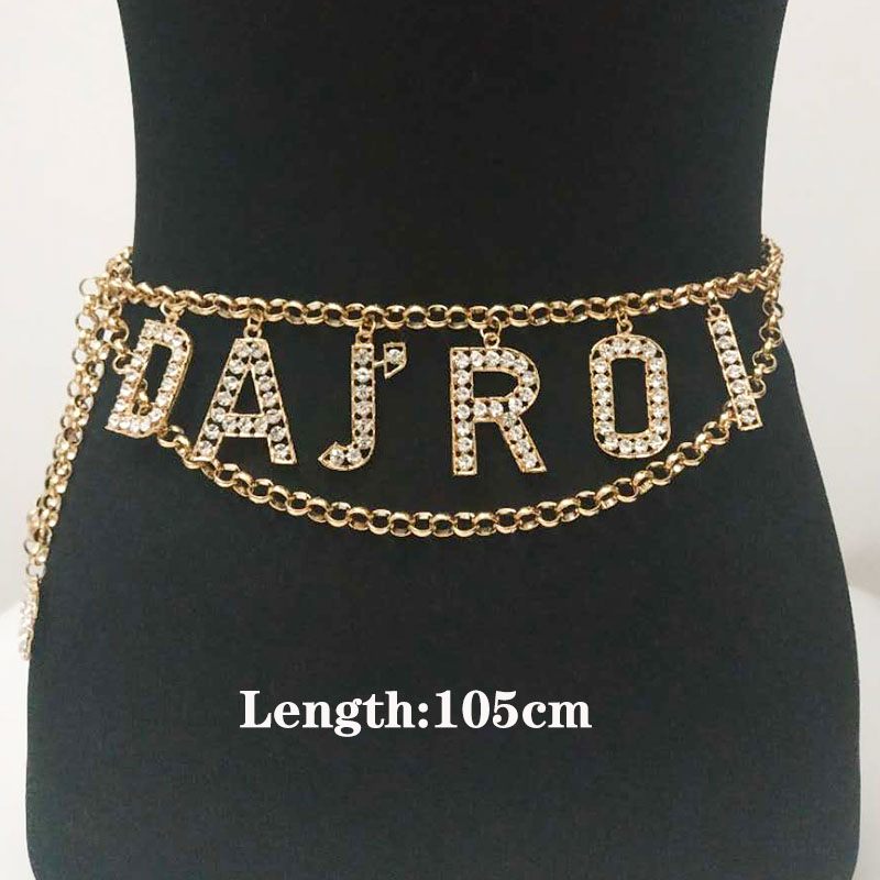 Body Jewelry For Women Crystal Letter Drop Waist Chains Rhinestone Sexy Metal Body Chains Jewelry Body Belts For Ladies Gifts