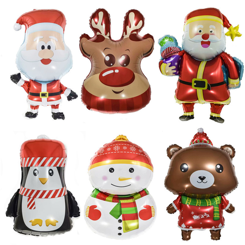 Christmas Foil Balloons Santa Claus Ballon Snowman Globos Xmas Deer Penguin Balloon Christmas Decorations For Home New Years