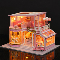A 073 Doll House DIY Villa Miniature Music Led Dollhouse Model Wooden Furniture Decoration Toys For Children Include Dust Cover
