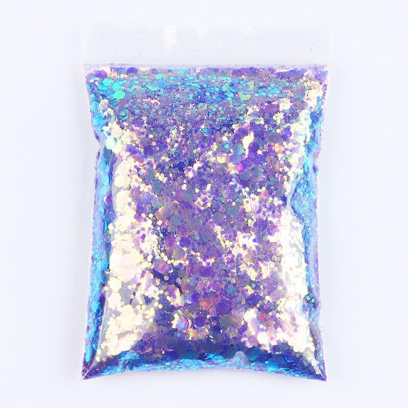AB Transparente Glänzende Nail art Glitter Pulver Größe Gemischt Hexagonal Flake Pailletten Dekorative Zubehör Für DIY Maniküre Design