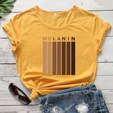 Couleur Dégoulinant Mélanine T-shirt Mignon Fille Noire Magique Tshirt Décontracté Femmes Manches Courtes L'égalité Haut T-shirt