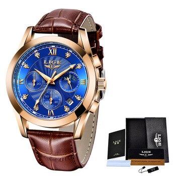 LIGE 2021 New Fashion Watch Women Watches Ladies Creative Steel Women Bracelet Watches Female Waterproof Clocks Relogio Feminino 16