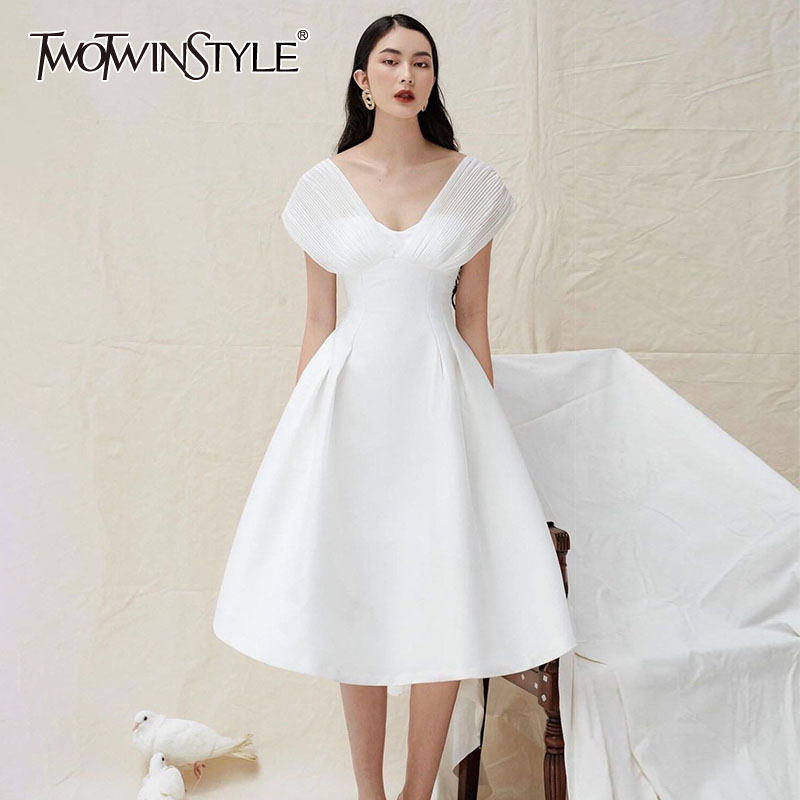 TWOTWINSTYLE White Elegant Dresses For Women V Neck High Waist Short Sleeve Ruched A Line Dress Female Summer New Clothing 2020