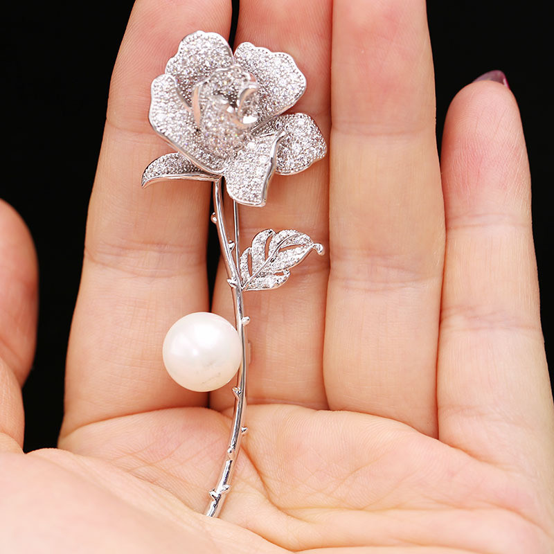 Elegant Luxury Rose Flower Lapel Pin Zircon Brooch Pin Costume Jewelry Clothes Accessories For Women Wedding in Brooches from Jewelry Accessories