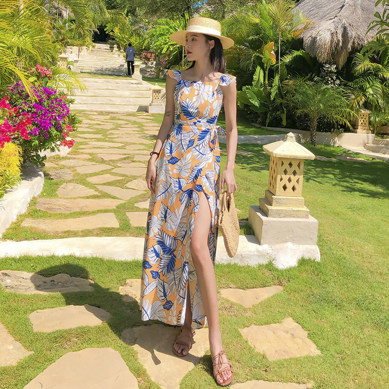 2020 Thailand Phuket Seaside Travel Beach Skirt Backless Chiffon Dress Fairy Slimming Long Skirts