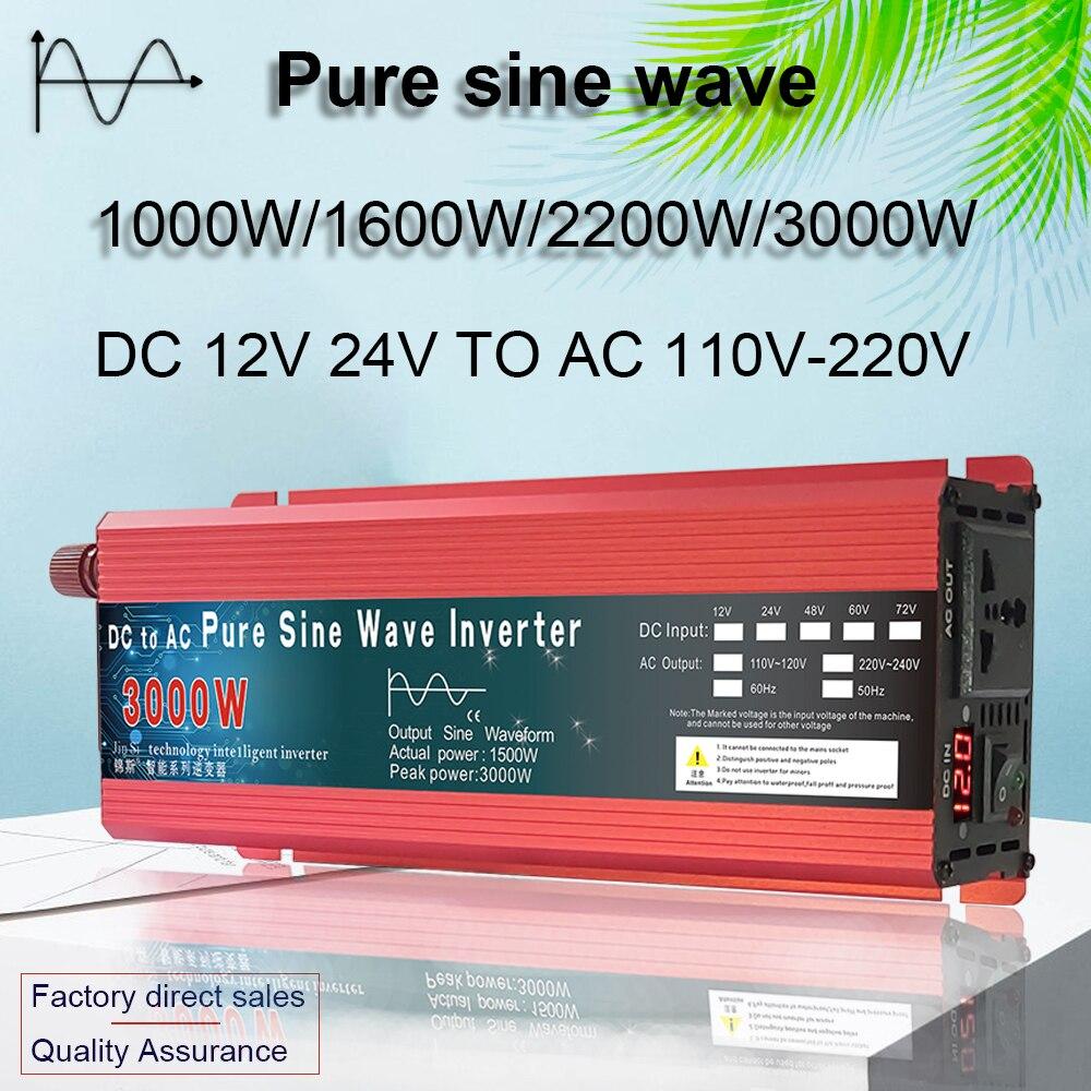 Pure Sine Wave Inverter 12V/24V To AC110V 220V 1000W 2000W 3000W Voltage Transformer Power Converter Solar Inverter LED Display