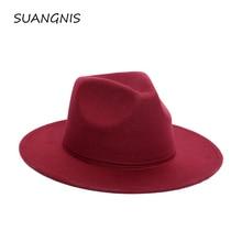 2019 Fedora Hat Men Women Imitation Woolen Winter Felt Hats Fashion Black Top Jazz Fedoras Chapeau