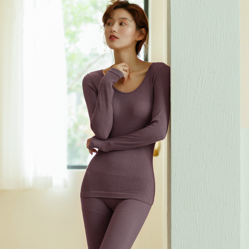 2-piece Set Women's Pyjamas Autumn Winter Seamless Body Thermal Underwear Suit Thin Thread Slim Lady Warming Thermal Long Johns