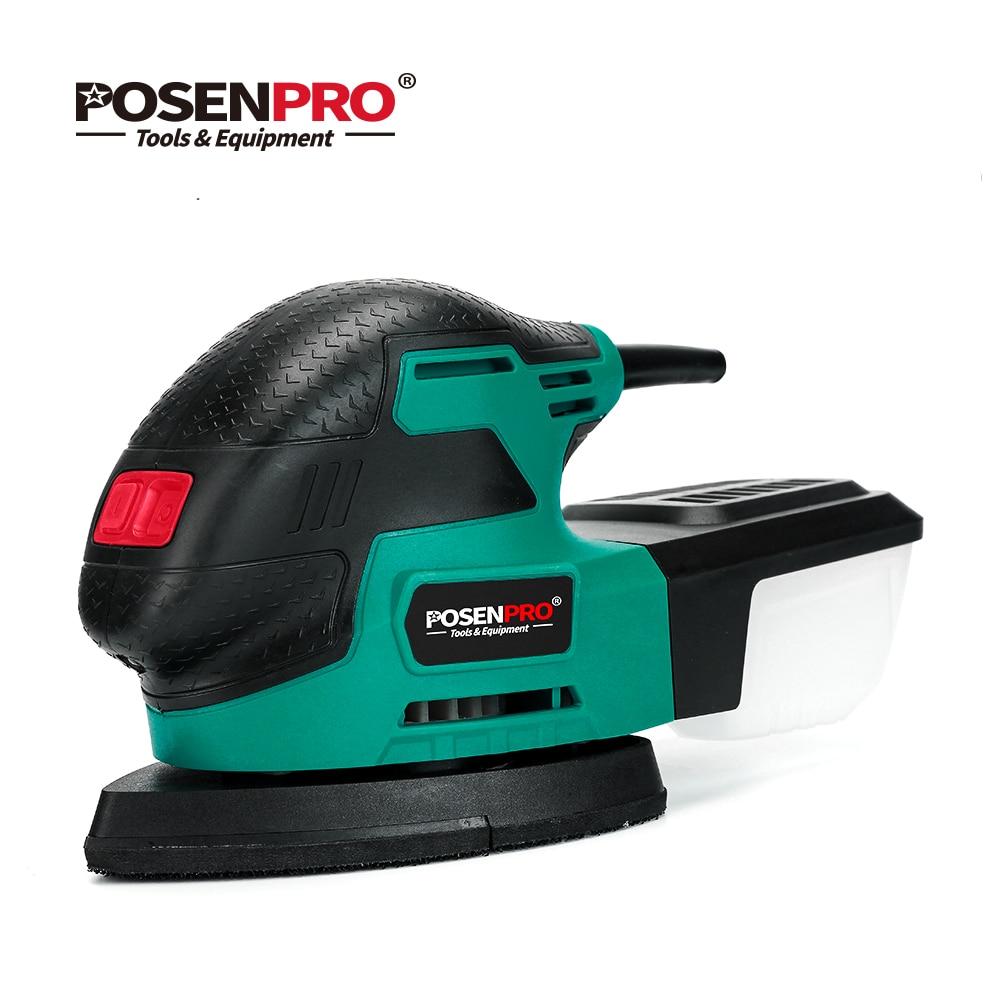 POSENPRO Mouse Detalhe Sander Sander Sander 220W Multiple Leve E Compacto Sistema de Coleta de Poeira de Lixamento em Decoração de Casa