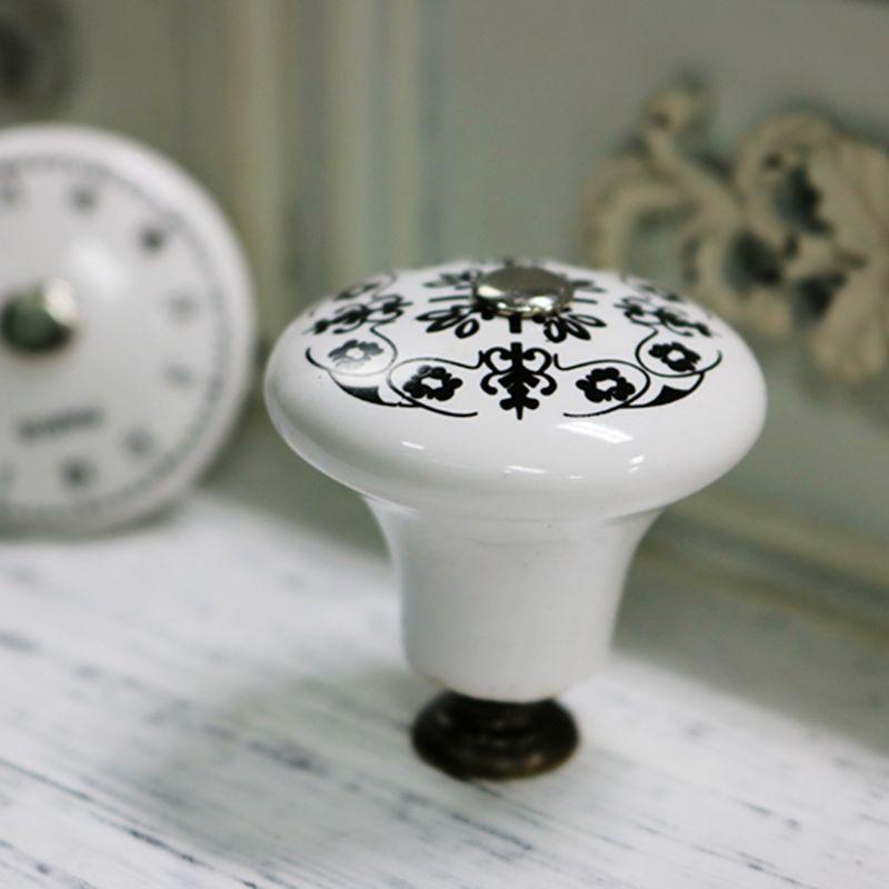 5 шт. керамические мебельные ручки с одним отверстием, часы с цифровым Европейским узором, Ретро стиль, дверная ручка ящика для шкафа, ручка для дома