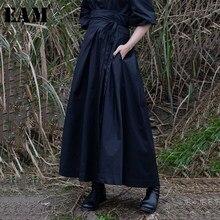 [EAM] 2021 nowa wiosna lato wysokiej talii Banadahe czarny plisowany z rozcięciem wspólne duże Hemline pół ciała spódnica kobiety moda fala JR478