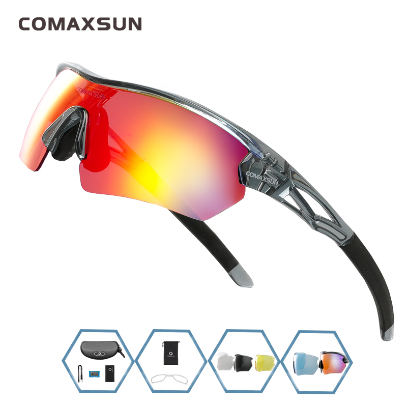 COMAXSUN Professional Polarized Cycling Glasses Bike Goggles Outdoor Sports Bicycle Sunglasses UV 400 With 5 Lens TR90 2 Style 11