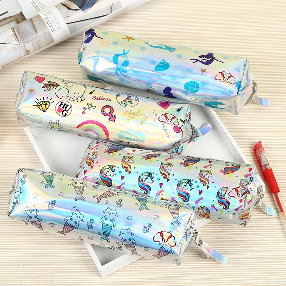 Kawaii Cute Christmas Gift Waterproof Rainbow Laser Beautiful Unicorn Mermaid Pattern Back To School Supplies Pencil Case