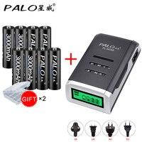 Bateria recarregável da bateria do aa das baterias recarregáveis das baterias do aa 3000 mah ni-mh 1.2 v dos pces de palo 8 bateria recarregável com carregador de bateria do display lcd
