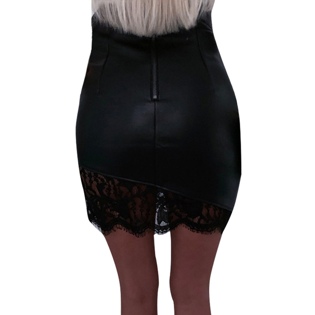 Lossky Black Pu Mini Skirt Sexy Women Short Lace Stitching Zipper Fall Spring Faux Leather Bodycon Asymmetrical Clothes Elegant 5