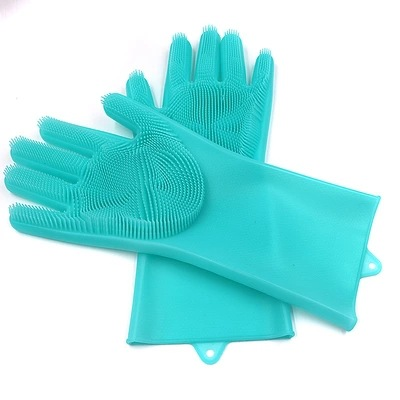 magic silicone dish washing gloves with scrubber for kitchen cleaning and for household