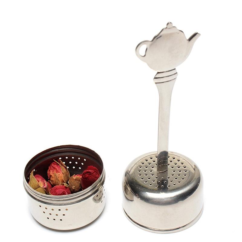 Stainless Steel Tea Infuser Strainer Cylindrical Tea Leak Spice Herbal Filter Seasoning Balls Hanging Chain Kitchen Accessories
