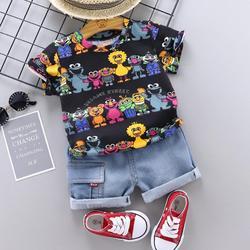 Moda bebê meninos conjuntos de roupas verão sésamo rua dos desenhos animados camiseta crianças meninos roupas terno crianças roupa denim roupa infantil