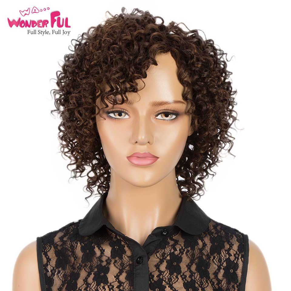 Korte Afro Kinky Krullend Menselijk Haar Pruik Goedkope Pruiken Voor Zwarte Vrouwen Menselijk Haar 100% Remy Human Hair Machine Gemaakt volledige Pruik Ombre