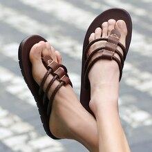 2020 Mens Flip Flops Sandals Genuine Leather Casual Men Shoes Slippers Summer Fashion Beach Flip Flops Flat sandalias mujer