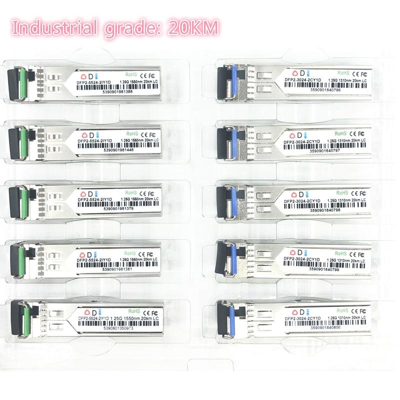 LC SFP Fiber Optic Module Industrial Grade -40~+80 Celsius 1.25G20KM 1310/1550nm Single-SFP Compatible Optical Module 5pairs