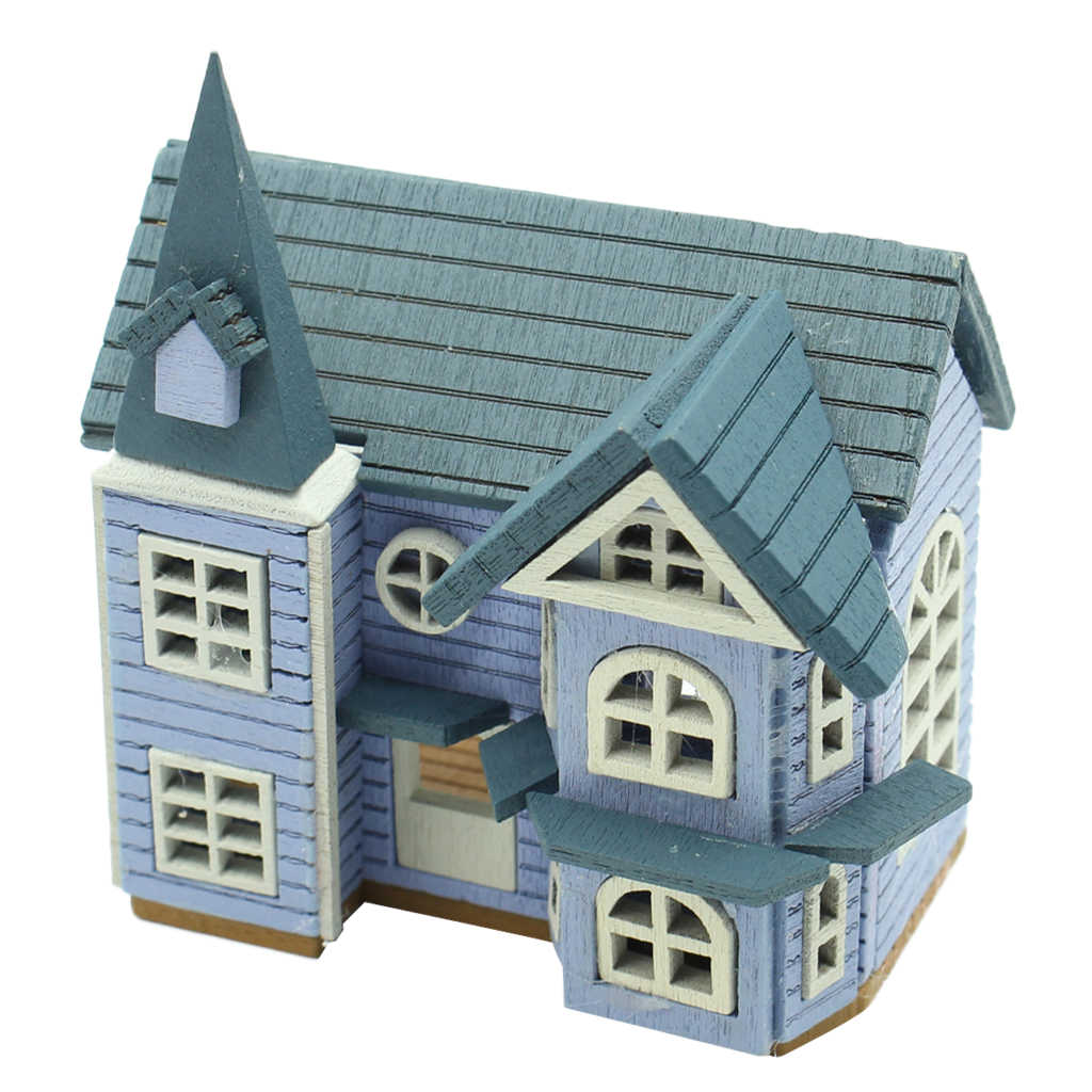 1/24 Scale DIY Mini Wooden Dolls House Miniature Accessories Handicraft Building Assemble Toy DIY Crafts Furniture Kit - Blue
