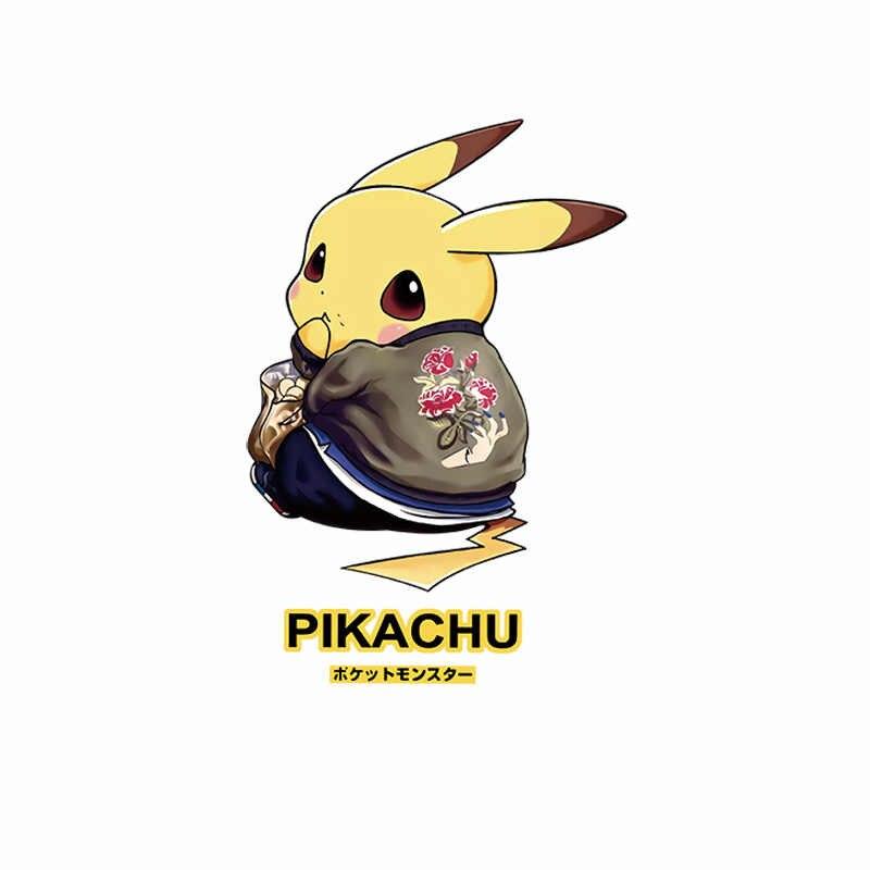1 pcs anime pikachu icon 아이들을위한 열 민감한 applique diy t-셔츠 pokemon 헝겊 조각 열전달 인쇄 철 부속품에