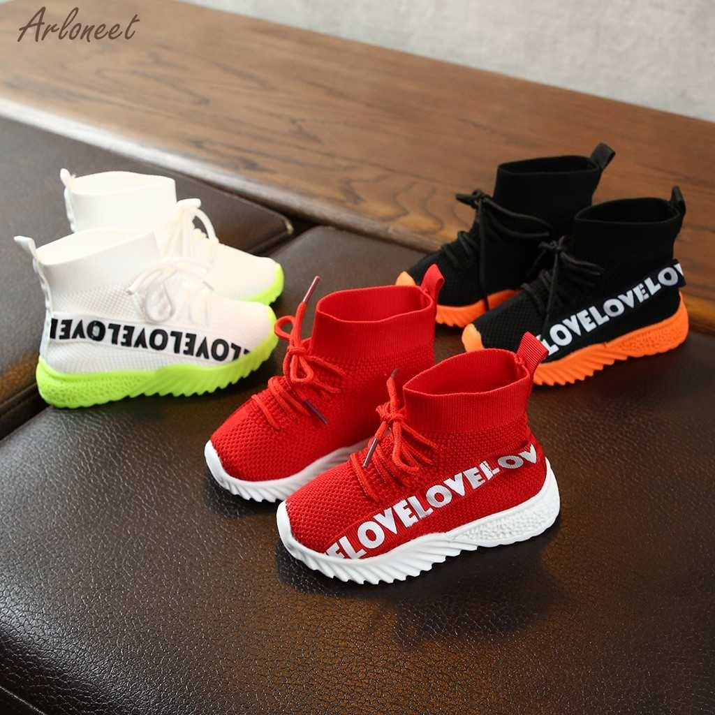 Children Kids Baby Girls Boys Letter Stretch Run Sneakers Sport Shoes Boots Baby Non-slip Toddler Shoes 2019