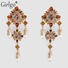 Girlgo Vintage Gorgeous ZA Pearls Hoop Earrings for Women Boho Elegant Crystal Shiny Drop Dangle Earring Jewelry Wedding Party(China)