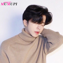 MUMUPI Short Wavy Synthetic Men Wigs Dark Brown Color 100% real natural hair Wig with Middle Part Bangs Heat Resistant Fiber