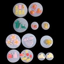 Mold Bear Earrings Goldfish-Shell Silicone Resin Mini Pendants Jewelry Art-Tools Dinosaur