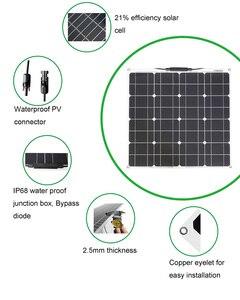 Image 4 - 50W 12V 100W Zwarte Glasvezel Semi Flexibele Monokristallijn Zonnepaneel Voor 12V Lading Batterij Op boten, caravans, Campers,