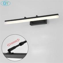 Czarny L35/45/60/70/80/100cm oświetlenie naścienne LED lustro łazienkowe lampa, 110V 220V żyrandol ścienny do szafki, ubikacja kinkiety ścienne