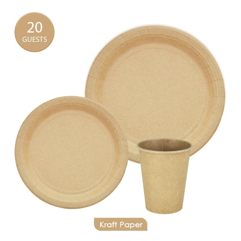60 pces 20 convidados kraft papel utensílios de mesa conjuntos eco-friendly descartável placas copos festa de aniversário decration suprimentos