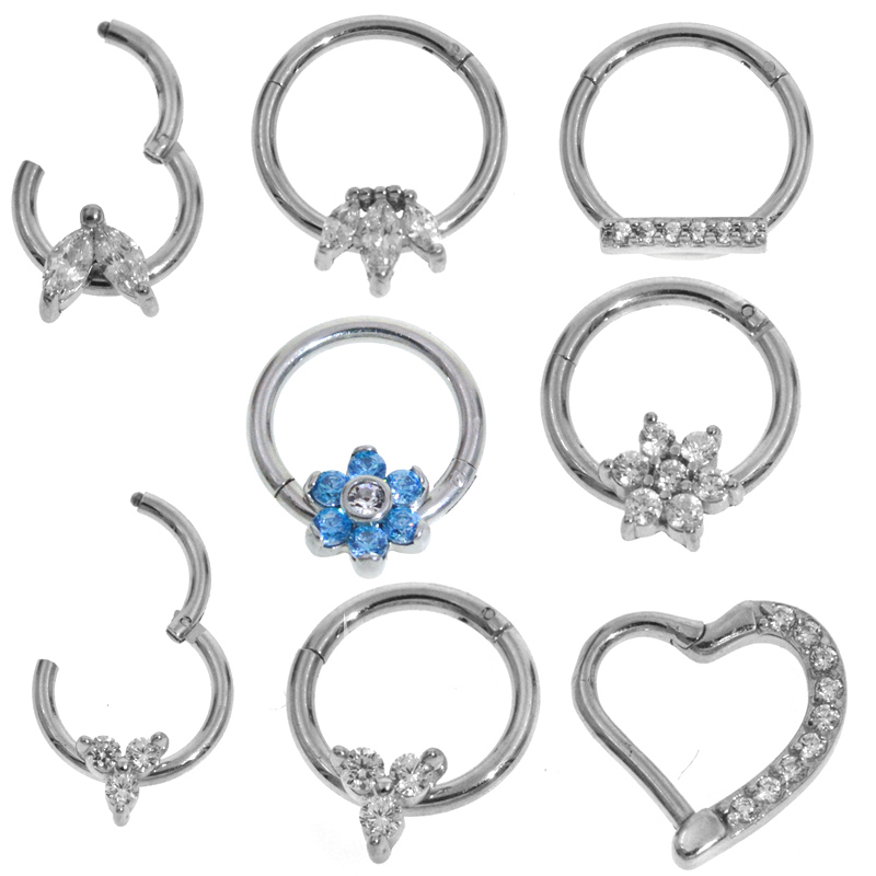 1Pc 6-12mm Surgical Steel Segment Nose Ring Septum Clicker Ear Helix Tragus Hoop Ring Body Piercing Hanger Clip On Jewelry