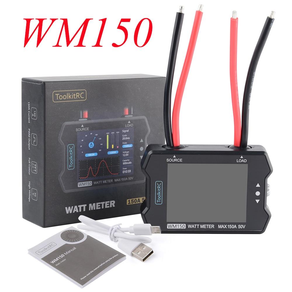 ToolkitRC WM150 wattmètre 150A 50V moteur compteur de puissance haute précision PPM Signal sortie testeur