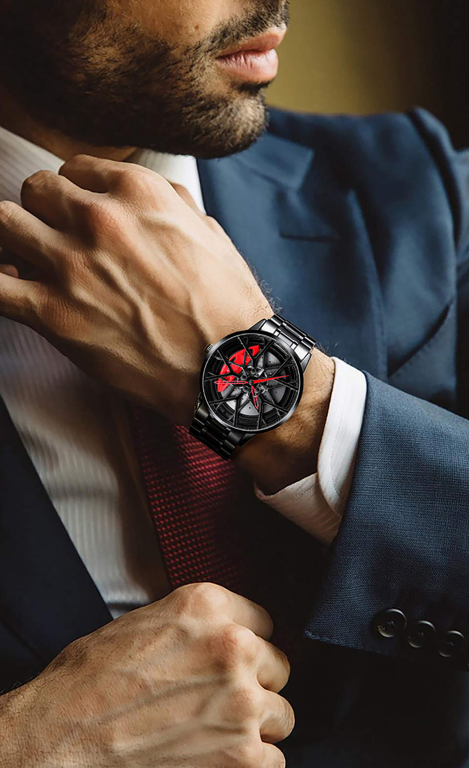 H80119ec588b54a42a25dc8fd4d4c2569A NIBOSI 2020 Car Rim Hub Wheel Watch Custom Design