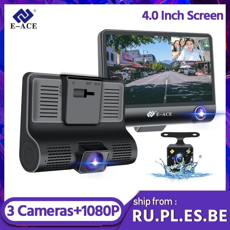 E-ACE B28 Car Dvr Dash Cam 4.0 Inch Video Recorder Auto Camera 3 Camera Lens With Rear View Camera Registrator Dashcam DVRs 1