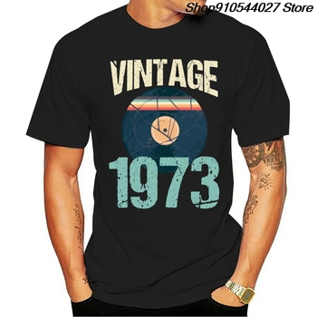 Knitted Vintage Retro Fashion 1973 46th Birthday Record Vinyl Tshirt Novelty Cool Men And Women T Shirts Plus Size S-5xl