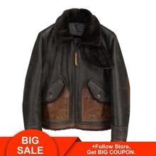 2020 Vintage Brown Men American Casual Style Shearling Coat Plus Size XXXXL Genuine Cowhide Winter Thick Warm Shearling Jacket недорого