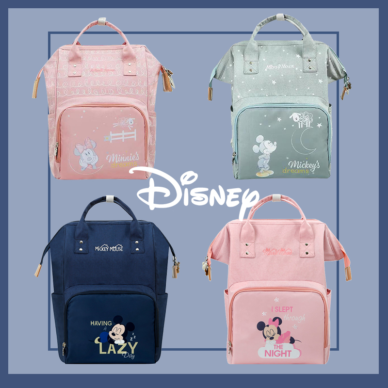 Disney Diaper Bag Backpack Minnie Mickey Maternity Backpack Large Capacity Travel Oxford Feeding Baby  Backpack For Mom Handbag