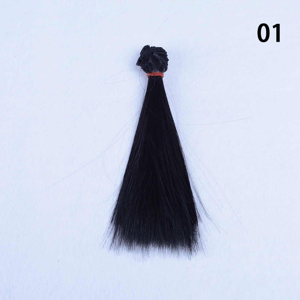 15cmx100cmfor 1/3 1/4 1/6 Bjd Haar Doll Hoge Temperatuur Draad Lang Steil Haar Zwart Roze Bruin Kaki Wit Grijs kleur Pruik