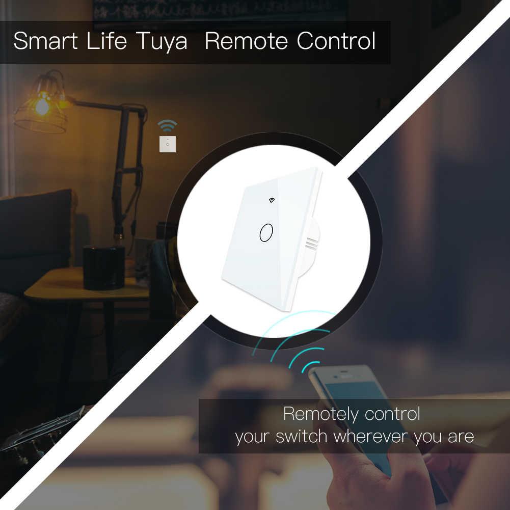 Interruptor inteligente WiFi RF433 Control remoto Panel de cristal interruptor de luz vida inteligente Tuya funciona con Alexa Echo Google Home 1 /2/3 bandas