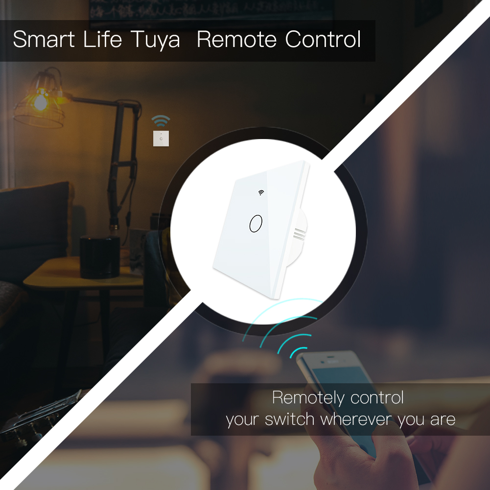 Image 3 - WiFi Smart Switch RF433 Remote Control Glass Panel Light Switch Smart Life Tuya Works With Alexa Echo Google Home 1/2/3 Gang-in Switches from Lights & Lighting